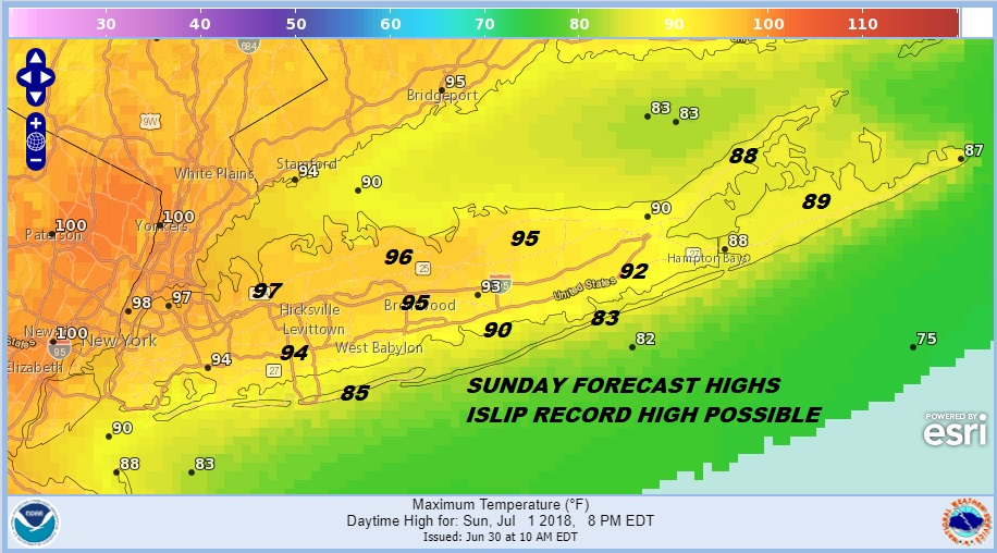 heat advisory long island 90s today mid to upper 90s sunday weather long island. Black Bedroom Furniture Sets. Home Design Ideas