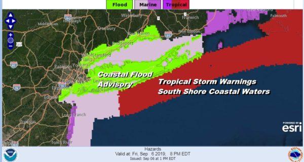 Dorian Moving Northeast Rain Bands Over Long Island
