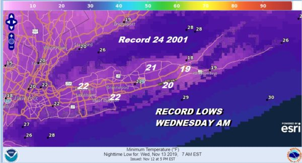Long Island Record Lows Forecast Tonight & Wednesday